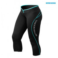 B715 SHAPED 3/4 TIGHTS BLACK/AQUA
