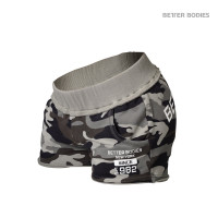 B781 ROUGH SWEAT SHORTS, GREEN CAMO PRINT
